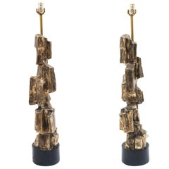 Pair of Italian Brutalist, 1970s Silvered Table Lamps