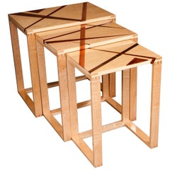 Set of Rectilinear Inlaid Maple and Exotic Wood Expressionistic Nested Tables