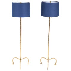Pair of Gilt Peened Brass Floor Lamps in the Manner of Tommi Parzinger