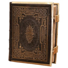 19th Century English Leather Bound Holy Bible with Gilt Tooling and Brass Locks