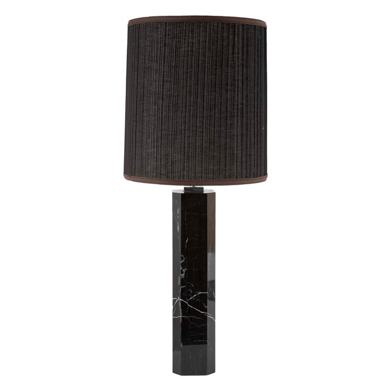 Black Veined Marble Lamp Attributed to T.H. Robsjohn-Gibbings For Sale