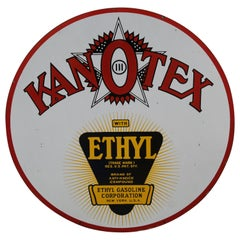 1930s Kanotex Ethyl Gasoline Porcelain Sign
