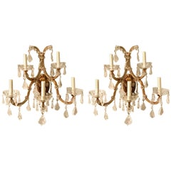 Pair of Vintage Italian Gilt Metal and Crystal Sconces