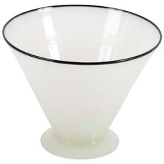 Steuben Alabaster Glass Vase with Applied Black Lip # 7459