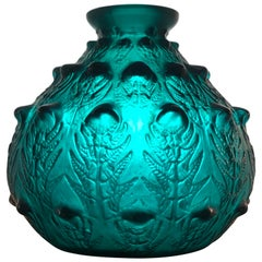 1912 René Lalique Fougeres Vase in Dark Duck Green Glass