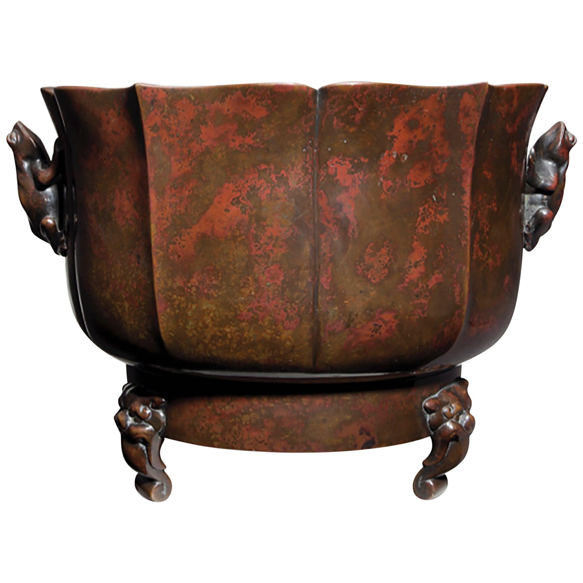 A Japanese Meiji Period Patinated Bronze Censer