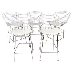 Set of Five Harry Bertoia for Knoll Chrome Wire Bar Stools