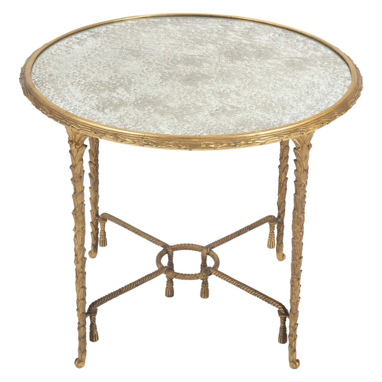 Maison Charles Bronze Mirrored Top Side Table For Sale