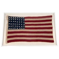 Vintage Hand Crocheted American Flag