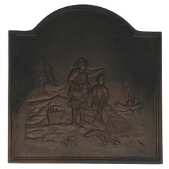 Cast Iron Fireback Displaying Fishermen, Fine Quality, Stamped, 19th Century