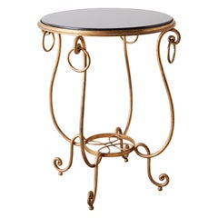 Rene Drouet Style Gilded Iron and Granite Table
