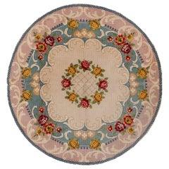 Antique Round Savonnerie Carpet, circa 1930s