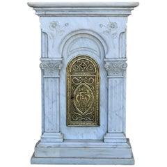 """19. Jahrhundert Geschnitzte Carrara-Marmor und Bronze Monstranz für Custody """"Sanctuary"""""""