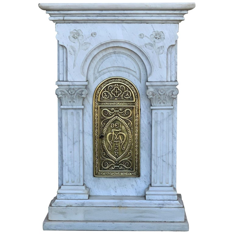 "19th Century Carved Carrara Marble and Bronze Monstrance for Custody ""Sanctuary"" For Sale"