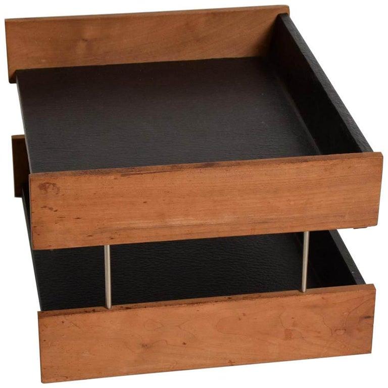 Mid-Century Modern Office Desk Accessory, Teak Wood &B Faux Leather Service  Tray