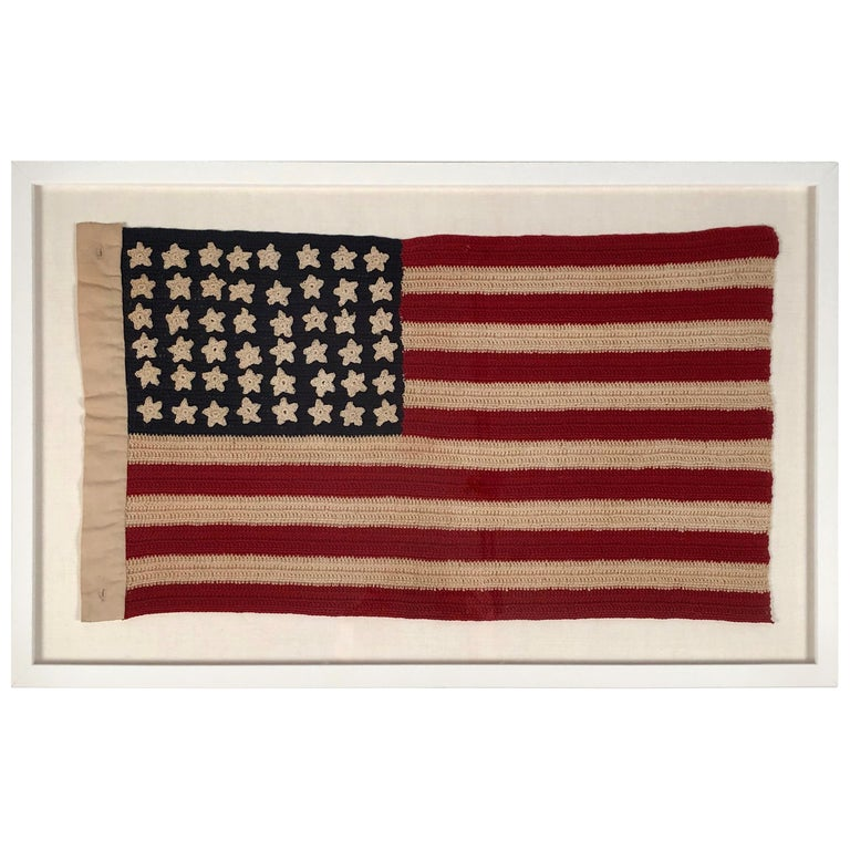 612bf2d3 Vintage Hand Crocheted American Flag For Sale at 1stdibs