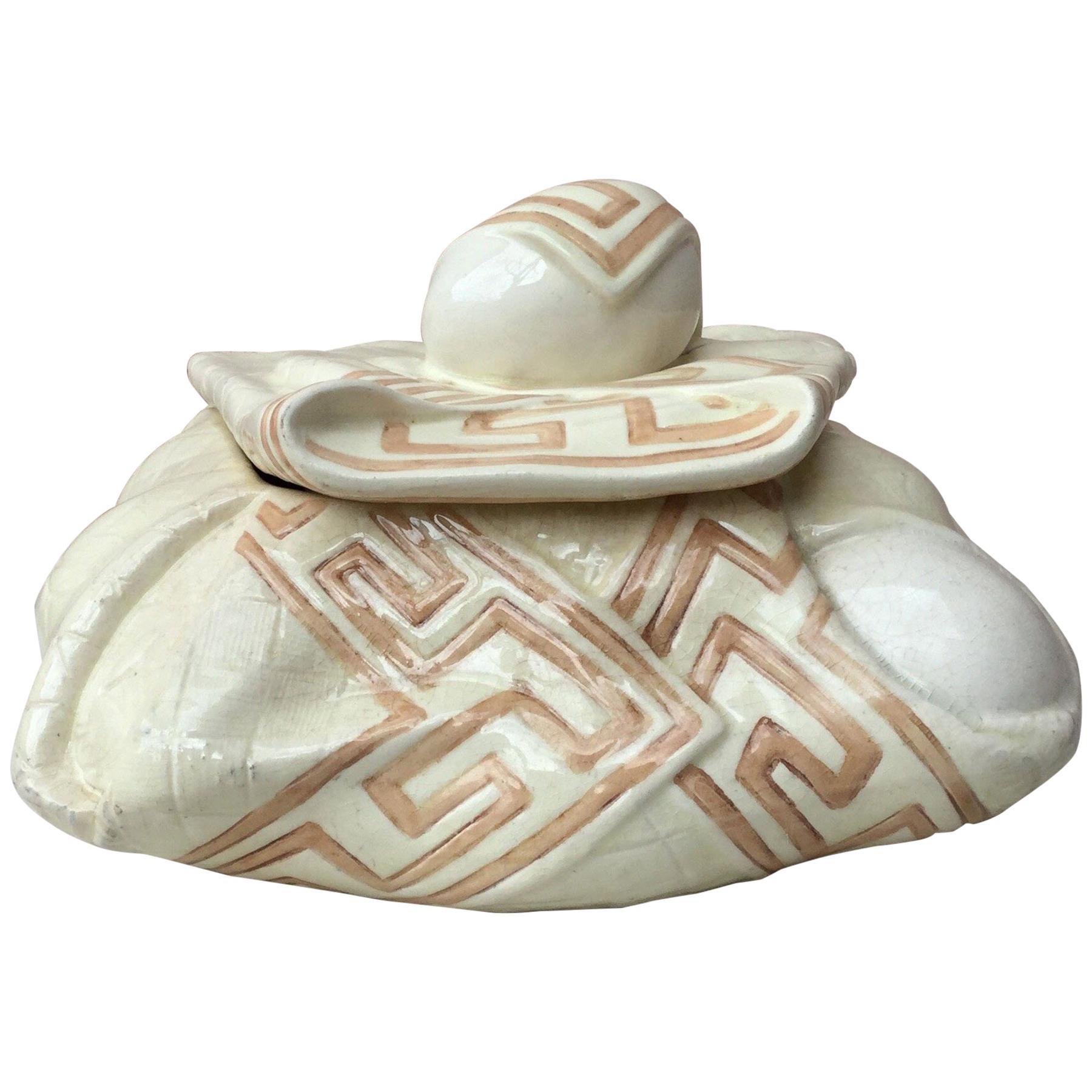 Majolica Trompe L'oeil Napkin Egg Basket Box Sarreguemines