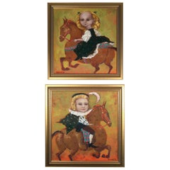 Pair of Russian Whimsical Paintings by Elena Kallistova