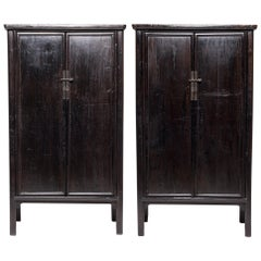 Pair of 19th Century Chinese Black Lacquer Noodle Cabinets