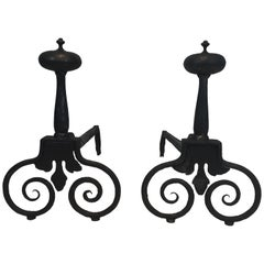 Pair of Wrought Iron Andirons, French, 18th Century