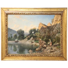 19th Century Italian Oil Painting on Canvas Impressionist Landscape with Frame