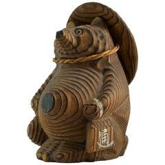 Shou-sugi-ban Japanese Tanuki Sculpture Toy Vintage Mid-Century Modern