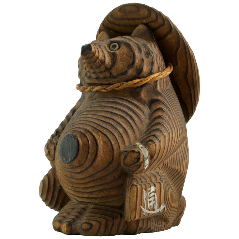Shou-sugi-ban Japanese Tanuki Sculpture Toy Vintage Mid-Century Modern  For Sale