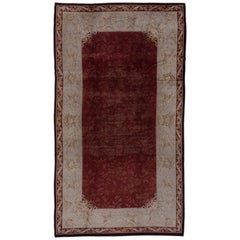 Antique Savonnerie Carpet, Brown Red Field