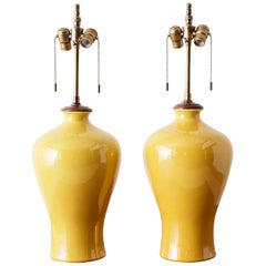 Pair of Chinese Citron Yellow Porcelain Vase Lamps