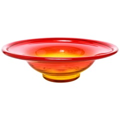 John Nickerson For Blenko Mid-Century Modern Amberina Glass Bowl