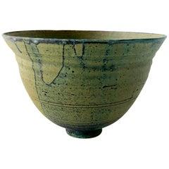 1970s Green Large California Modernist Studio Pottery Bowl