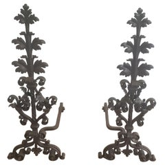 Pair of Wrought Iron Andirons, Very Fine Work, French, 19th Century