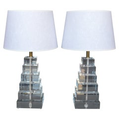Pair of Square Stacked Acrylic Lamps