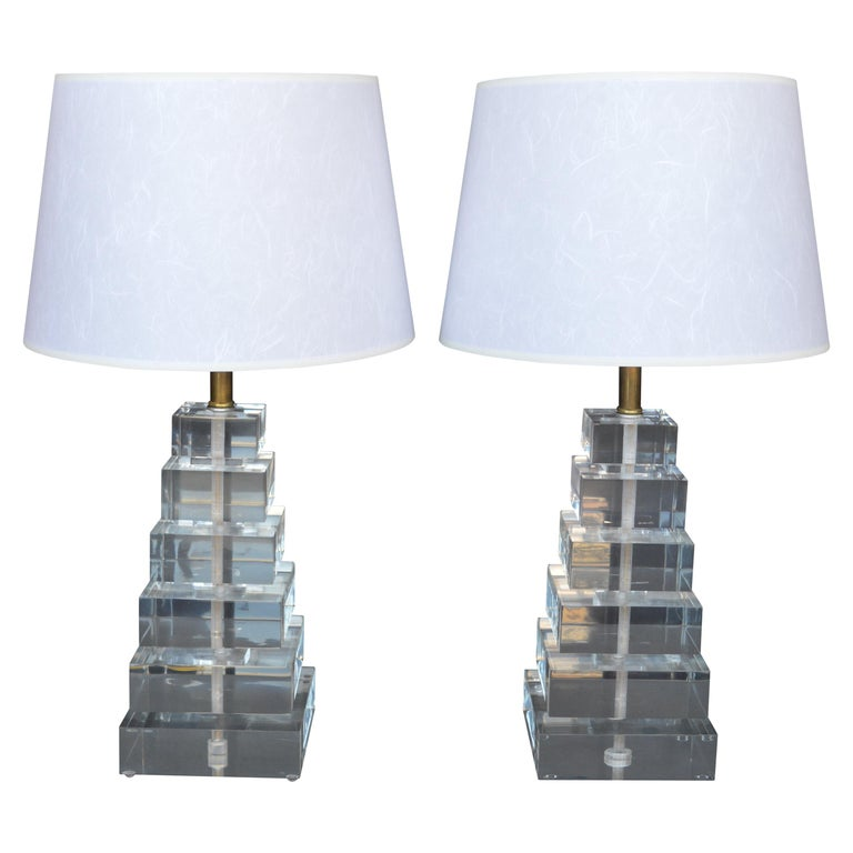 Pair of Square Stacked Acrylic Lamps For Sale
