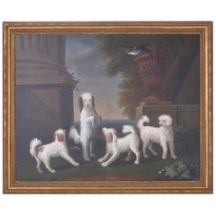 Oil Painting on Canvas of Four Dogs