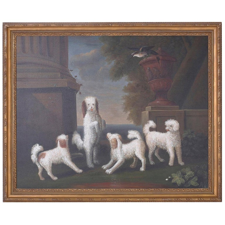 Oil Painting on Canvas of Four Dogs For Sale