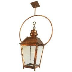 Large Hanging Copper Lantern ceiling light bracket antique style los angeles LA