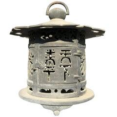 """Japan Antique Cast Bronze """"Flower & Hearts Lantern""""  Exquisite Details"""