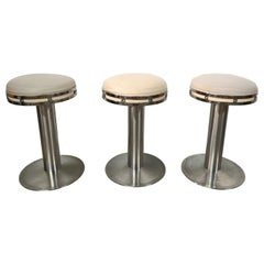 Set of Three Custom Karl Springer Style Steel and Leather Stools