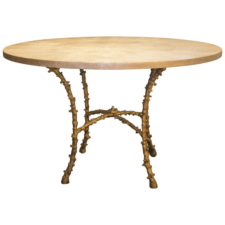 Solid Bronze and Faux Shagreen Center Table in the style of Maison Bagues For Sale