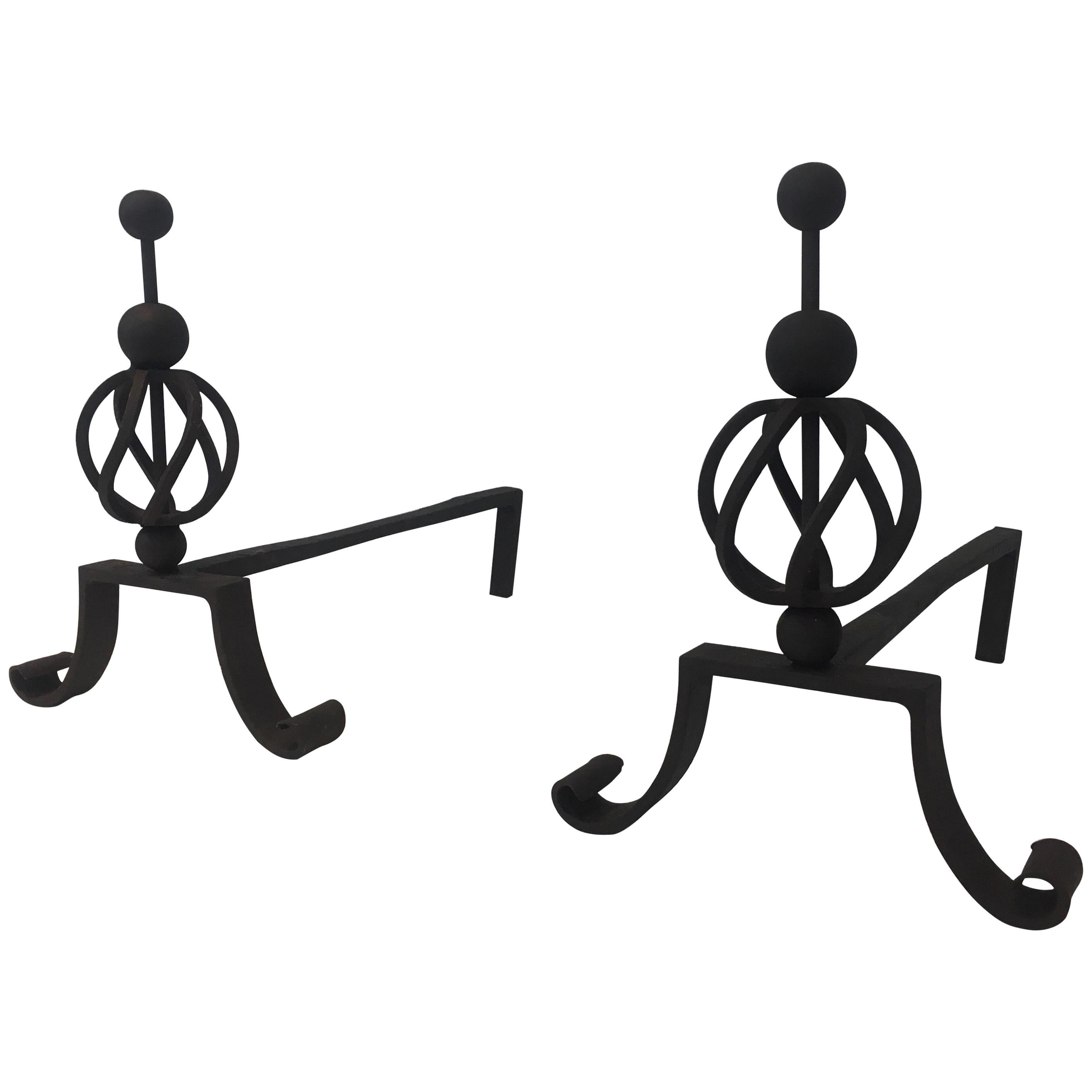 Pair of Wrought Iron Andirons, French