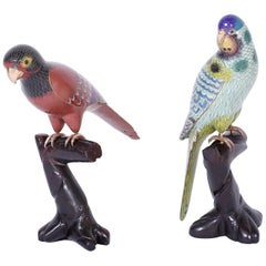 Pair of Chinese Cloisonné Birds or Parrots