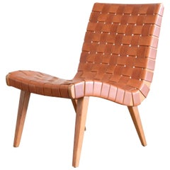 Jens Risom 654 Cognac Leather Lounge Chair by Walter Knoll/ Knoll International