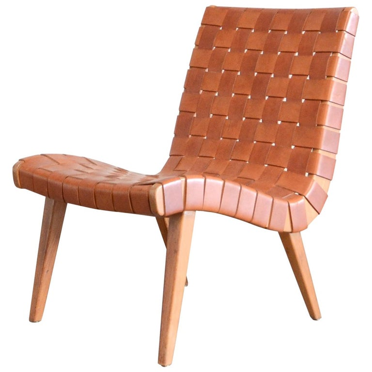 Jens Risom 654 Cognac Leather Lounge Chair by Walter Knoll/ Knoll International For Sale