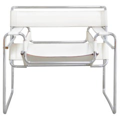 Gavina Wassily Chair Leather White by Marcel Breuer
