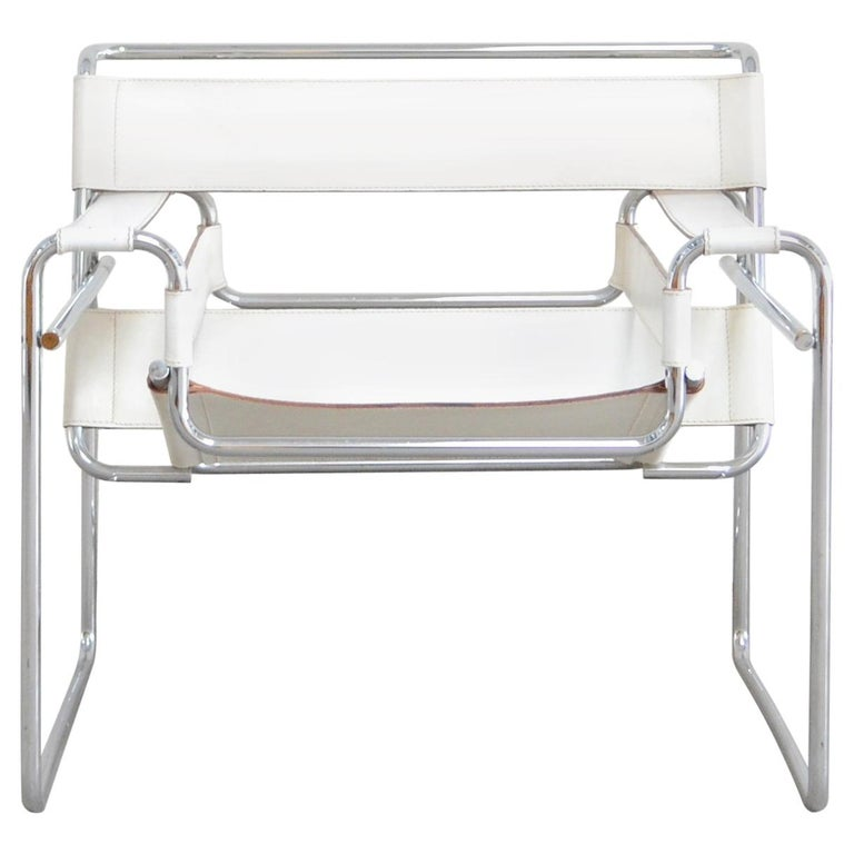 Gavina Wassily Chair Leather White by Marcel Breuer For Sale