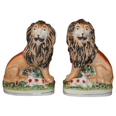 Pair of 19th Century Staffordshire Lions/Lambs