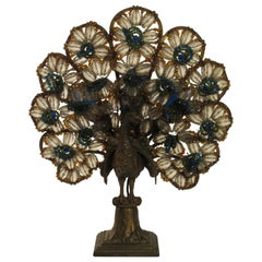 1920s Czechoslovakian Bronze Beaded Peacock Lamp