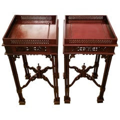 Pair of Chinese Chippendale Style Tea Tables