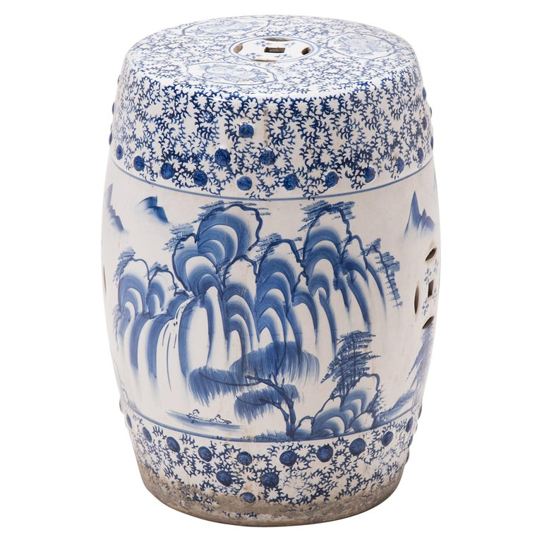 Chinese Blue and White Minggua Garden Seat For Sale